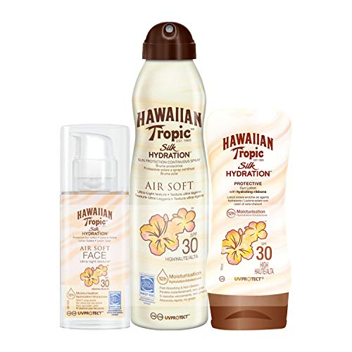 Hawaiian Tropic Silk Hydration Air Soft Sun Spray Lotion Sonnenspray LSF 30 + Silk Hydration Protective Sun Lotion Sonnencreme LSF 30 + Silk Hydration Sun Lotion Air Soft Face Sonnencreme LSF 30 -