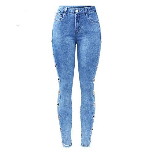NCAYKL 2165 Youaxon Neue Stretchy Jeans Mit Seite Ösen Besetzte Frauen Große Größe Mitte Hohe Taille Denim Dünne Hosen Jeans für Frauen -
