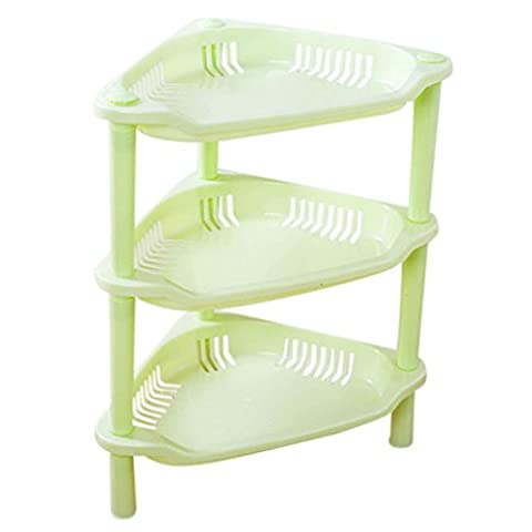 12shage 3 Tier-Plastik-Ecken-Organisator-Badezimmer-Regal-Küche-Speicher-Zahnstangen-Halter (F)