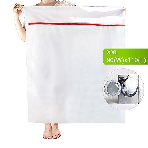 OTraki Wäschetasche XXL Wiederverwendbare 90x110cm Feste Wäschenetze Feinmaschige Wäschesack Bettzeug mit Reißverschluss Wäschebeutel Rechteckig Laundry Bag Große Netztaschen für Waschmaschine
