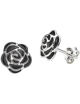Silvinity Blumen Ohrringe Damen schwarz 9mm - 925 Silber Ohrstecker Blume Rose mit Emaille inkl. Etui #SV-257-SCH