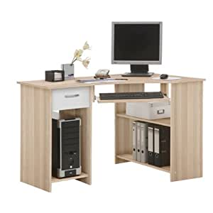 Sb design felix bureau ordinateur 118 x 76 x 77 cm fr ne blanc cuisine maison for Petit meuble informatique design