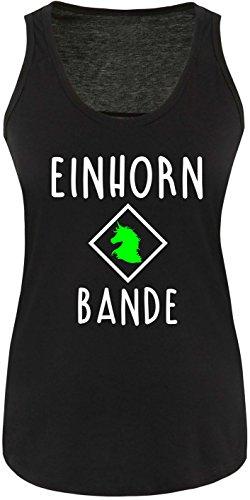 EZYshirt® Einhorn Bande Damen Tanktop Schwarz/Weiss/Neongr