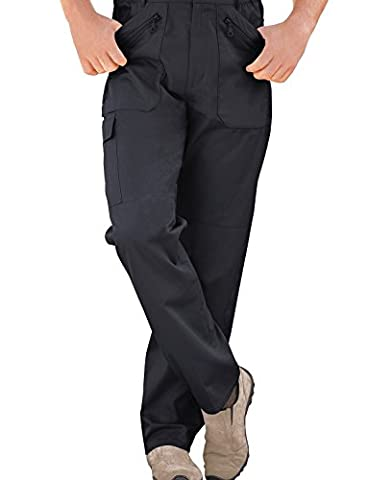 Mens Elasticated Multi Pocket Cargo Combat Work Trousers Navy 46W x 29L