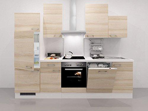 Küchenzeile 280 cm Akazie mit Einbaugeräten + Geschirrspüler - Arezzo