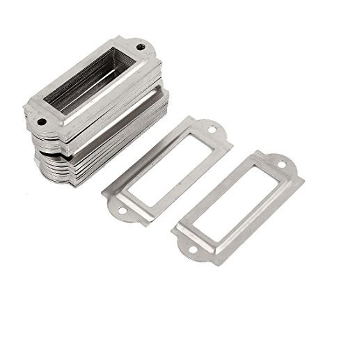Preisvergleich Produktbild 50 Stück Silber Metall Aktenschrank Etikettenrahmen Schrankrahmen Rahmen de