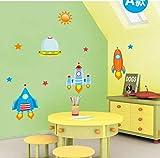 HHZDH Wandaufkleber DIY Raumschiff Wandaufkleber Aufkleber Für Kinderzimmer Jungen Baby Kindergarten Cartoon Wandtattoos Hauptdekorationen Weihnachten
