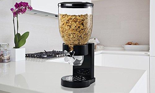 Dispensador de cereales ENYAA, de doble cara transparente, con bandeja integrada para frutos secos, cereales, comida de perro o gato, dulces, y también, para almacenamiento de comidas; disponible en negro o blanco