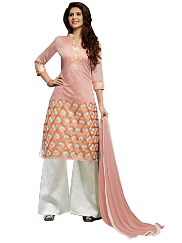 Blissta Orange Embroidered Chanderi Salwar Suit Dress Material(Diwali special 2017, ,great indian festival sale,festival offer,best deals of the day,traditional for women,sales offers)  available at amazon for Rs.999