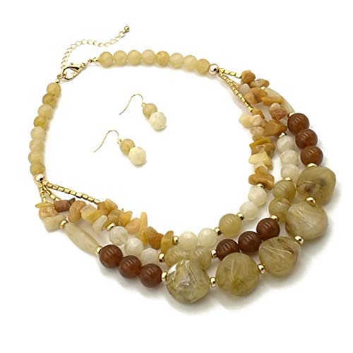 Modeschmuck lange Harz gelb braun Stein Perlen Erklärung Frauen Halskette und Ohrringe ()