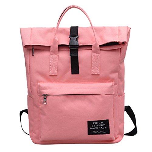 Cloom zaino, donne alla moda nylon di puro colore borsa a tracolla zaino donna borsa a zainetto zaino da viaggio con piccolo portafoglio borsetta a monospalla per campeggio (rosa,1pc)