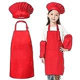 JLySHOP Tablier de Chef pour Enfant - Tablier de Chef pour Enfants, vêtements de Cuisine, de pâtisserie pour Les cuisiniers en Formation, Peinture, Bricolage pour garçons et Filles