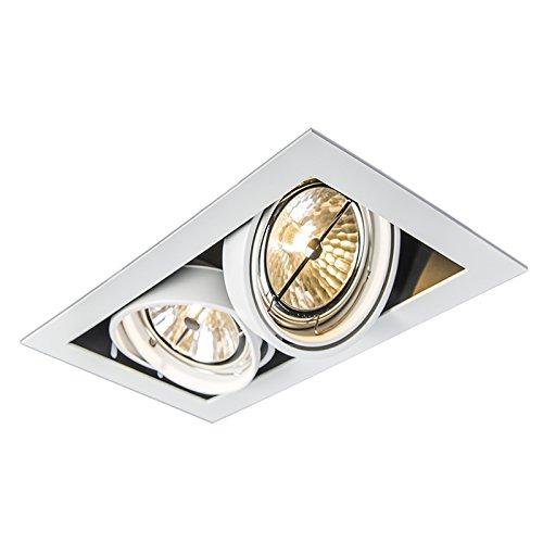 QAZQA Diseño Foco empotrable ONEON 111-2 blanco Acero Rectangular Adecuado para LED...
