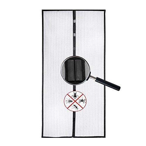 Magnet Fliegengitter Tür Insektenschutz 100x210CM - Magnetischer Fliegenvorhang Moskitonet Schwarz - Insektenschutz für Balkontür Wohnzimmer Terrassentür Klebmontage ohne Bohren, Des Lichtdurchlässigen Magnetvorhang Automatisches Schließen