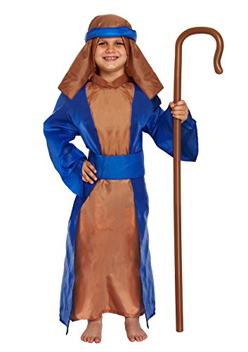 Mädchen Jungen Weihnachten verkleiden Sich Mary Sheperd Santa Angel Elf Star Kostüm Alter 3-13 Jahre (Sheperd- Blau/Braun, Groß (Alter 10-12 Jahre))