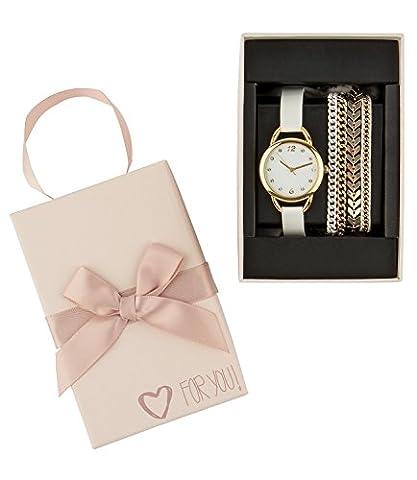 """SIX """"Geschenk"""" Box, Set aus heller Damen Uhr und drei Armbändern, weiß, gold, Glitzer, Blatt in hochwertiger Geschenkbox mit Herz (388-286)"""