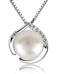 B.Catcher Collier en Argent 925 Pendentif Coeur Collier de Perle Perle de Culture Zirconium cubique Chaîne Italienne Saint-Valentin Cadeau