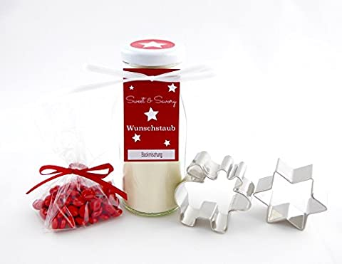 Geschenkset Elch, Backmischung für Elch-Butterplätzchen im Glas mit Plätzchen Ausstechform - ideal als Geschenk zu Weihnachten, Nikolaus, Wichtel (Ausstecher Weihnachten Geschenk)