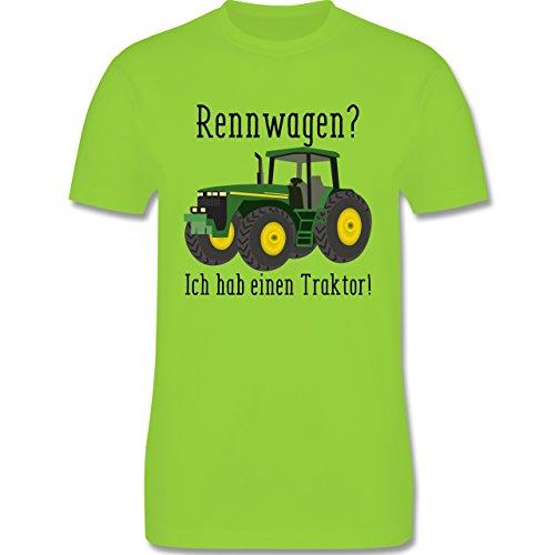 Landwirt - Rennwagen? Traktor! - Herren T-Shirt Rundhals Hellgrün
