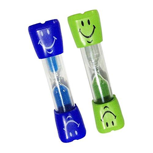 Sharplace 2pcs 3 Minuten Sanduhr Zahnputzuhr Eieruhr Teeuhr mit Lächeln Muster für Kochen, Zimmer, Wohnzimmer, Waschraum Dekoration - Blau + Grün