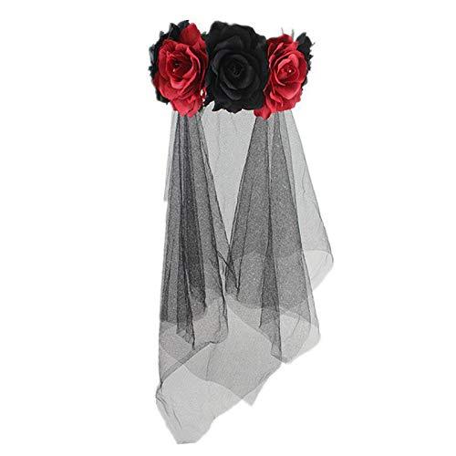 y Hochzeit Brautschleier mit Haarband-1 Tier Black Rose Blume Schleier Bar Party Haarschmuck Kopf Schnalle Halloween Cos Dress Up Stirnband,B ()