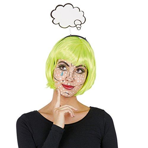 Comic Pop Kostüm - Amakando Pop-Art Kopfschmuck Haarreifen mit Redewolke Popart Kostüm Accessoire Tiara Fasching Karneval Haarschmuck Haarreif mit Comic Sprechblase