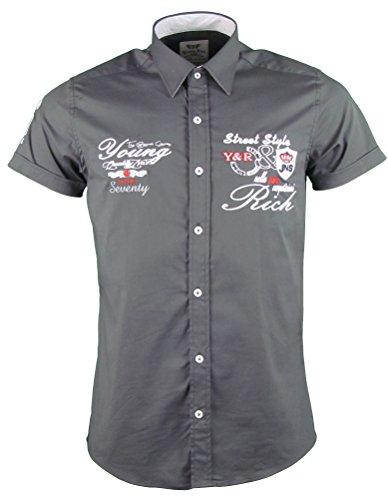 Young&Rich Kurzarm Hemd - Freizeithemd - körperbetont - mit Stickapplikationen (XL, Anthrazit)