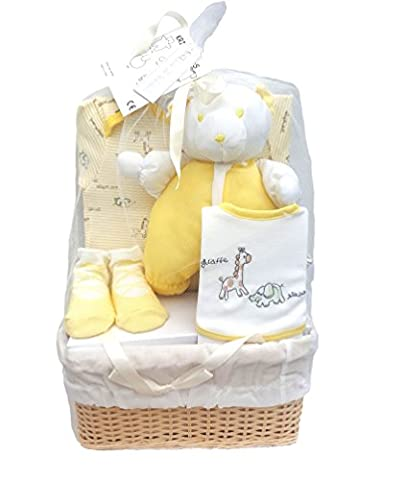 Bee Bo Baby Gift Set with Bodysuit, Bib, Socks and Teddy Bear in a Rattan Basket. 0 - 3 Months. Available in Blue, Pink, Cream, Lemon or