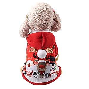 Chiens Costumes,Costume De VêTements De Chien De Chiots à Capuchon De NoëL d'animal Familier De Chien,Chiens Sweats à Capuche (L, Rouge)