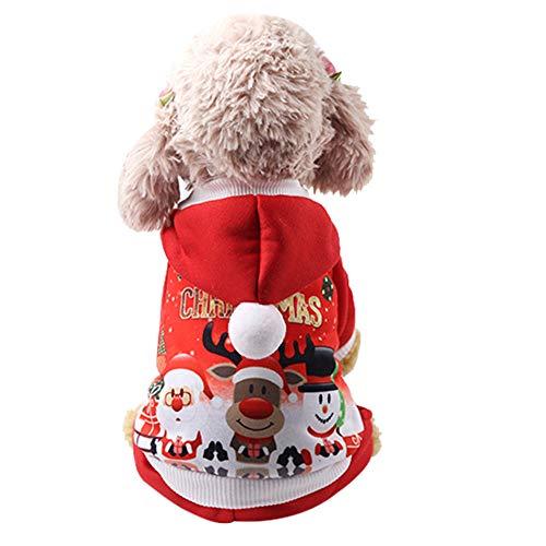 Fenverk Weihnachten Haustier HüNdchen Mit Kapuze Sweatshirts Hund Kleider KostüM Lustig Weihnachtsmann Claus Schneemann Katze KostüMe Cosplay Bezaubernd Tier Kapuzenpullover Warm Outfits(rot,XL)