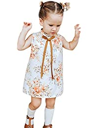 405440a2676c Boomboom Baby S Clothing Toddler Kids Baby Girls Sleeveless Floral Print  Mid A-Line Skirt Bowknot