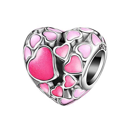 Damen Herz Charm Bead für Armbänder 925er Sterling Silber Liebe Enamel Anhänger passend für Armband und Halskette MEHRWEG