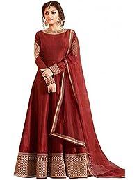 Shree Women's Silk Unstitched Lehenga Choli (SRENT007_Red_Free Size)