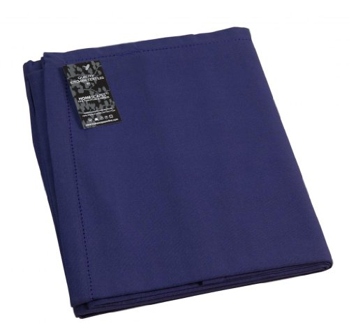 Plain cotton navy blue tablecloth, 54 x 54 inches