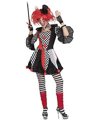 Geist Harlekin Halloween Kostüm - costumebakery - Damen Frauen Kostüm, Horror Clown Jester Harlequin Harlekin, perfekt für Halloween Karneval und Fasching, M, Mehrfarbig