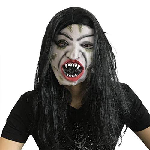 HOCOL Halloween Maske, Latex Weißhaarige Hexenmaske Walking Dead Full Head Maske, für Masquerade Make Up Party-Schwarz (Das Böse Schneewittchen Kostüm)