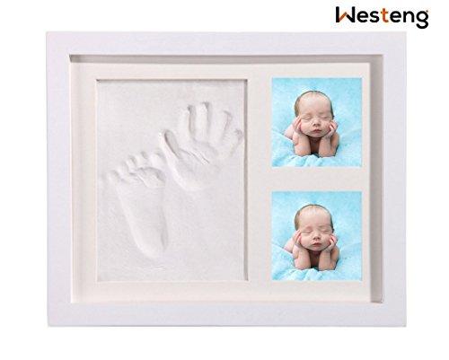 Westeng, Bilderrahmen für Fuss- oder Handabdrücke aus Ton, mit Holzrahmen, für Babyfotos, als Geschenk, Erinnerungsstück, aus ungiftigem Acryl, 1 Stück Unico weiß