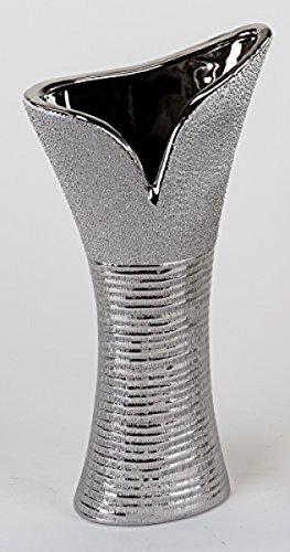 Moderne Deko Vase Blumenvase aus Keramik in silber Höhe 40 cm