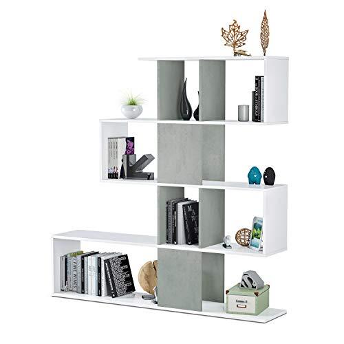 Habitdesign 1L2251A - Estantería Comedor, librería Auxiliar Salon con estantes, Modelo Zig Zag, Medidas: 45x145x30 cm de Fondo