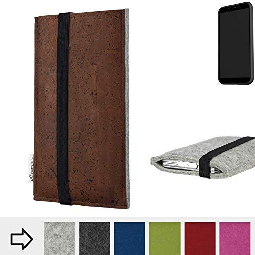 flat.design Handy Hülle Sintra für Shift Shift6mq maßgefertigte Handytasche Filz Tasche Schutz Case braun Kork