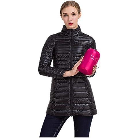 iHAIPI - Lang Daunenjacke Damen Ultra Leicht Herbst Winter Mantel Parka Jacke Größe S-4XL (L, Schwarz)