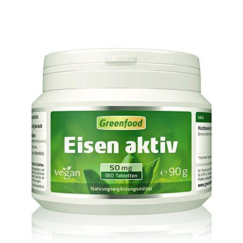 Greenfood Eisen aktiv, 50 mg, extra hochdosiert, 180 Tabletten, hohe Bioverfügbarkeit, hervorragende Verträglichkeit, vegan – wichtig für Blutbildung, Energie und Immunsystem. OHNE künstliche Zusätze. Test