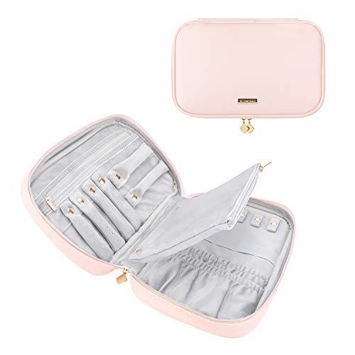 Komfortable Schmuck-Reisetasche, Taschen-Schmuck Organizer für Halskette, Ohrringe, Ringe, Armband Rose
