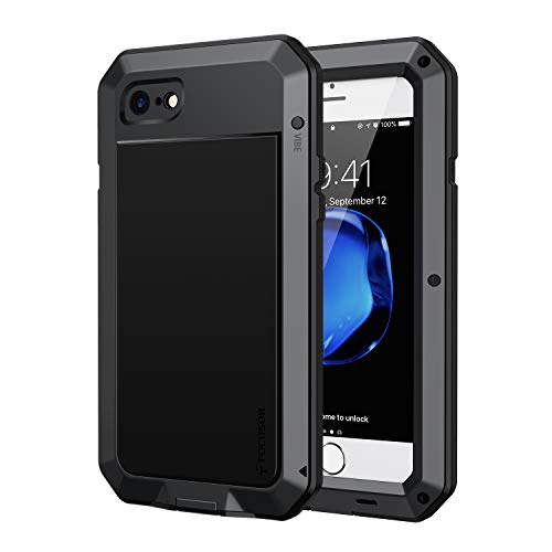 Focusor Coque iPhone 7, Coque iPhone 8, [Antichoc] [Solide et Rigide] Antipoussière Robuste Résistant 360 degré Full Body Antichoc Heavy Duty Metal Protection Case avec du Verre trempé, Noir