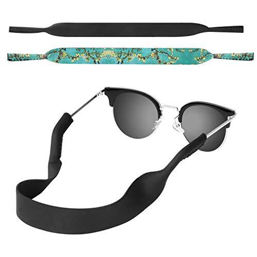 MoKo Neoprene Brillenband - [2 Stück] Universal Sonnenbrille Eyewear Strap Brillenkordel schwimmende Material Anti-Rutsch Schutzbrille Halter für Kinder, Männer, Frauen - Schwarz & Aprikose Blume (Schwarze Blume Sonnenbrille)