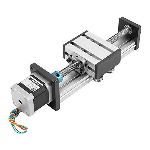 Akozon Linearführung Automatische Kugelumlaufspindel Linear CNC Slide Stroke Lange Tischantrieb Guide Slide Tabelle Aluminium mit Schrittmotor 100mm Effektive Reichweite