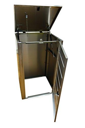 Mülltonnenbox, Modell Eleganza, mit waagerechten Schlitzen in der Tür, für vier 120 Liter Müllbehälter - 3