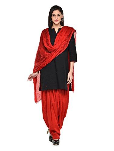 Stylenmart Women Cotton Solid Full Patiala Salwar Dupatta Set (Stmapa078614 _Red _Free...