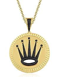 "Silvernshine 1.2 Ct Round Cut Black Crown Locket Pendant 18"" Chain In 14K Yellow Gold Over"
