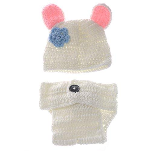 White Rabbit Baby Kostüm - Foxnovo Cute White Rabbit Style Baby Kleinkinder Neugeborenen Hand gestrickte häkeln Hut Kostüm Baby Fotografie Requisiten Set